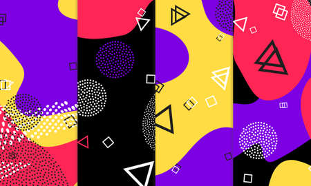 Purple Background. Abstract Memphis Pattern. Vector Illustration. Hipster Style 80s-90s. Fun Pattern. Memphis Elements. Fluid Red, Yellow Colors. Violet Hipster Composition. Lilac Funky Wallpaper.