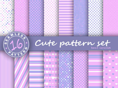 Cute seamless pattern set. Hearts background. Valentine day design. Pink, violet colors. Polka dot, stripes, hearts pattern. Paper set mockup. Vector.