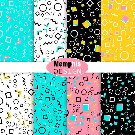 Set of Memphis Seamless Pattern. Fun Background. Pink, Blue, Yellow Colors. Memphis Style Patterns. Vector Illustration. Seamless Pattern. Abstract Colorful Fun Background. Hipster Style 80s-90s. 版權商用圖片 - 157257002
