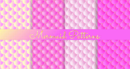 Mermaid Scales. Fish Squama. Set of Pink Seamless Patterns. Color Vector Illustration. Watercolor Background. Scale Print.