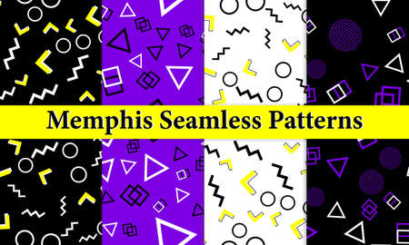Set of Memphis Seamless Pattern. Fun Background. Trendy Colors. Memphis Style Patterns. Vector Illustration. Seamless Pattern. Abstract Colorful Fun Background. Hipster Style 80s-90s.