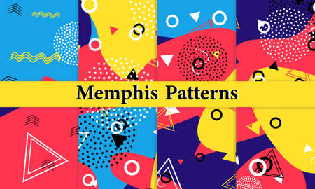 Set of Memphis Pattern. Fun Background. Red, Blue, Yellow Colors. Memphis Style Patterns. Vector Illustration. Funky Pattern. Abstract Colorful Fun Background. Hipster Style 80s-90s. 版權商用圖片 - 157065290