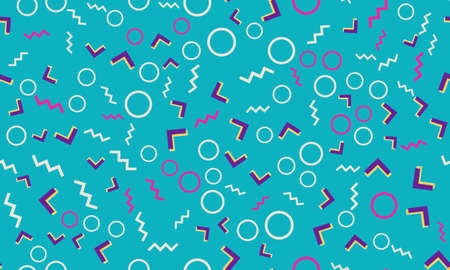 Memphis Seamless Pattern. Fun Background. Vector Illustration. Geometric Seamless Pattern. Abstract Colorful Fun Background. Hipster Style 80s-90s. 版權商用圖片 - 157691948