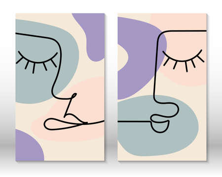 Modern art face. Set of abstract backgrounds with minimal shapes and lines. Home decor design. Hand drawn watercolor effect painting shapes and line art faces. Contemporary design.