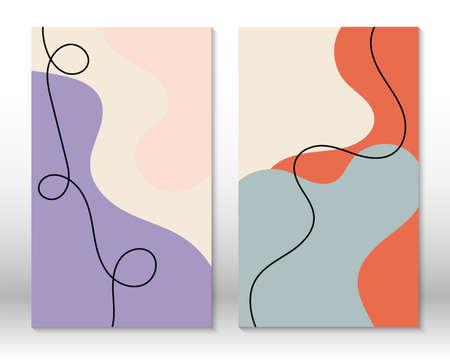 Scandinavian design. Modern art print. Contemporary design.Set of fluid hand drawn watercolor effect shapes. Home decor. Modern abstract painting. 向量圖像