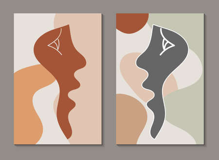Modern line art face. Set of abstract minimal shapes and lines. Home decor design. Hand drawn watercolor effect painting shapes and line art faces. Contemporary boho design. 向量圖像