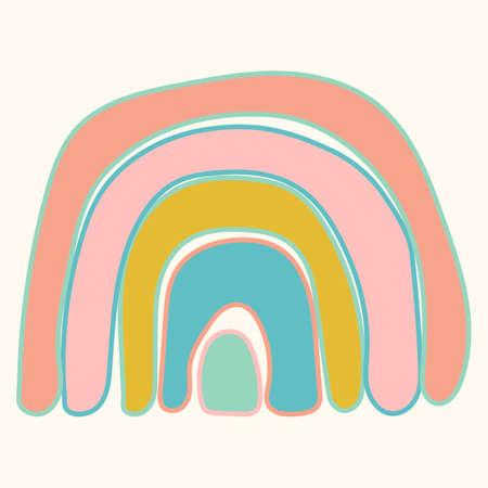 Scandinavian cute rainbow isolated on a white background. Fun rainbow. Childish drawing for nursery design. Bright doodle hand drawn illustration. Scandinavian design.