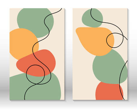 Modern abstract painting. Set of fluid hand drawn watercolor effect shapes. Home decor design. Modern art print. Contemporary design. 向量圖像