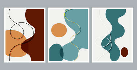 Scandinavian design. Modern art print. Contemporary design. Set of fluid hand drawn watercolor effect shapes. Home decor. Modern abstract painting.
