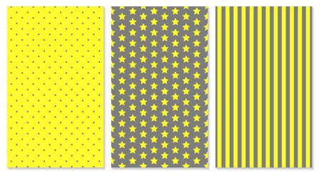 Yellow and gray colors abstract cover design. Polka dots, stripes, stars.