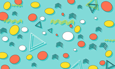 Memphis Pattern. Summer Fun Background. Coral, Blue, Yellow Colors. Memphis Style Patterns.