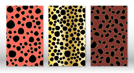 Golden glitter texture. Animal skin leopard pattern. Cheetah print. Covers design template. Leopard print design.