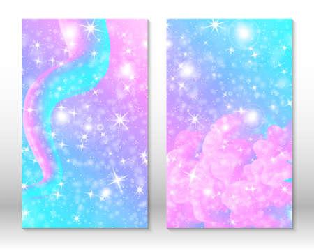 Unicorn rainbow background. Pink, blue colors. Princess background, invitation card.