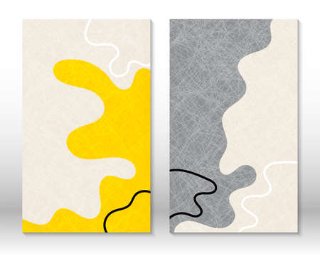 Yellow, grey colors. Modern abstract painting. Set of abstract hand drawn watercolor effect shapes. Home decor design. Modern art print. Contemporary design.