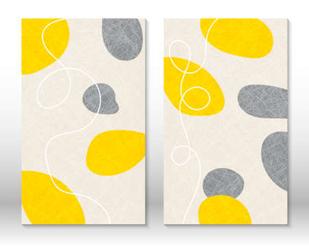 Yellow, grey colors. Modern abstract painting. Set of hand drawn watercolor effect shapes. Home decor design. Modern art print. Contemporary design.