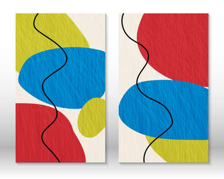 Modern abstract painting. Set of fluid textured shapes. Abstract hand drawn watercolor effect shapes. Home decor design. Modern art print. Contemporary design.
