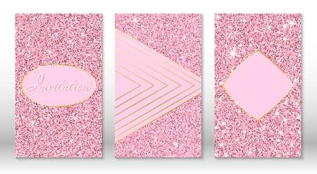 Rose golden glitter texture. Chic sparkle pink gold invitation cards. Rose gold sequins. Golden glitter texture.
