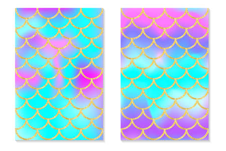 Set of holographic rainbow background. Mermaid gold scales. Hologram print for invitation card. Vector