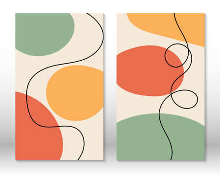 Modern abstract painting. Set of fluid geometric shapes. Hand drawn watercolor effect shapes. Home decor design. Modern art print. Contemporary design.