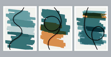 Scandinavian design. Modern art print. Contemporary design. Set of fluid geometric shapes. Abstract hand drawn watercolor effect shapes. Home decor. Modern abstract painting.