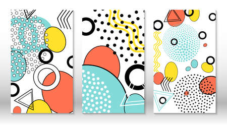 Set of doodle fun patterns. Hipster style 80s-90s. Memphis elements. Fluid pink, blue, yellow colors. Vector.