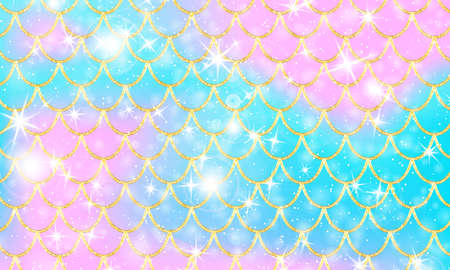 Golden pattern. Holographic rainbow background. Gold scales. Mermaid print. Vector.