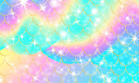 Holographic rainbow background. Gold scales. Mermaid print. Vector.