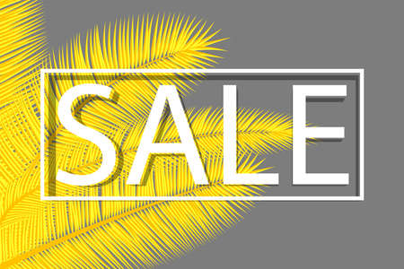 Sale banner with palm leaves. Floral tropical background. Yellow and gray colors abstract cover design. Vector.