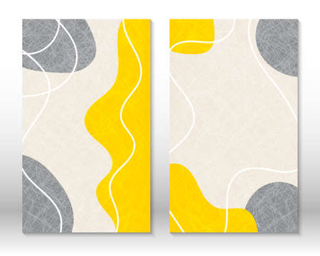 Yellow, grey colors. Modern abstract painting. Set of fluid geometric shapes. Hand drawn watercolor effect shapes. Home decor design. Modern art print. Contemporary design.