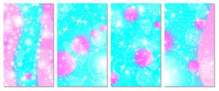 Set of unicorn rainbow background. Pink, blue colors. Princesss background, invitation card. Vector. 向量圖像