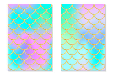 Set of holographic rainbow background. Mermaid gold scales. Hologram print for invitation card. Vector.