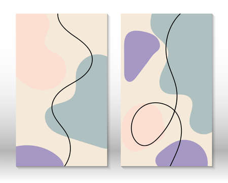 Scandinavian design. Modern art print. Contemporary design.Fluid geometric shapes. Abstract hand drawn watercolor effect shapes. Home decor. Modern abstract painting. 向量圖像