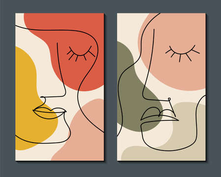 Modern abstract art face. Minimal shapes and lines. Home decor design. Hand drawn watercolor effect painting shapes and line art faces. Contemporary boho design.