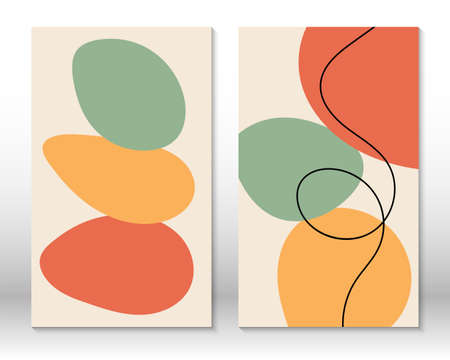 Modern abstract painting. Fluid geometric shapes. Abstract hand drawn watercolor effect shapes. Home decor design. Modern art print. Contemporary design. 向量圖像