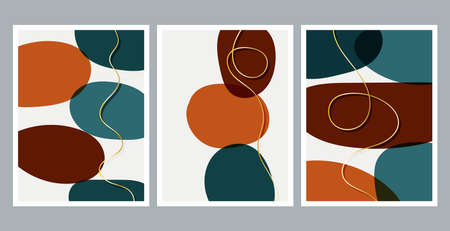 Modern abstract painting. Golden lines. Set of fluid geometric shapes. Abstract hand drawn watercolor effect shapes. Home decor design. Modern art print. Contemporary design.