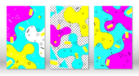 Set of doodle fun patterns. Hipster style 80s-90s. Memphis elements. Fluid pink, blue, yellow colors. Vector