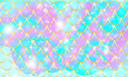 Holographic rainbow background. Gold scales. Mermaid print. Vector