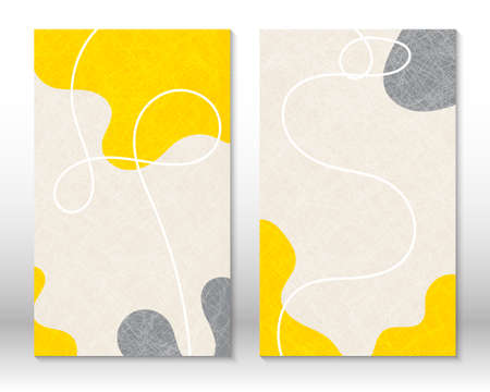 Modern abstract painting. Yellow, grey colors. Set of fluid geometric shapes. Abstract hand drawn watercolor effect shapes. Home decor design. Modern art print. Contemporary design.