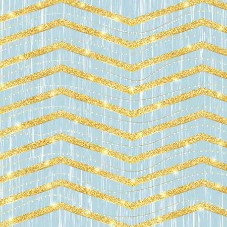 Golden glittering stripes. Chevron pattern, zig zag gold background. Vector