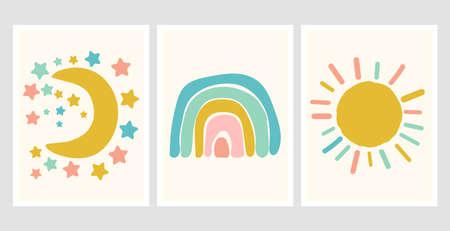 Scandinavian style cute posters with rainbow, cloud and sun. Childish drawing for nursery design. Fun doodle rainbow. Hand drawn illustration. Scandinavian nursery design. 向量圖像