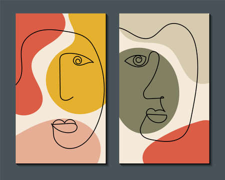 Modern art face. Set of abstract backgrounds with minimal shapes and lines. Home decor design. Hand drawn watercolor effect painting shapes and line art faces. Contemporary boho design.