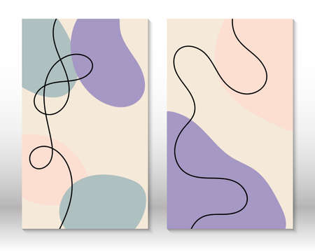 Scandinavian design. Modern art print. Contemporary design.Set of fluid geometric shapes. Abstract hand drawn watercolor effect shapes. Home decor. Modern abstract painting.