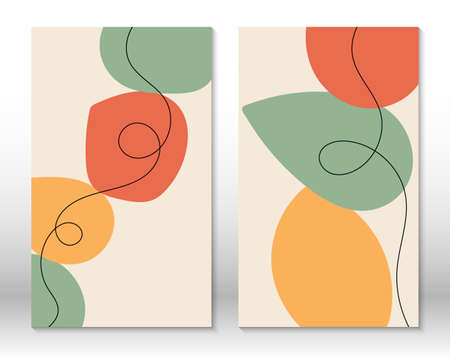 Modern abstract painting. Set of fluid geometric shapes. Abstract hand drawn watercolor effect shapes. Home decor design. Modern art print. Contemporary design.