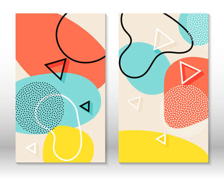 Set of doodle fun patterns. Hipster style 80s-90s. Memphis elements. Fluid coral, blue, yellow colors. 向量圖像