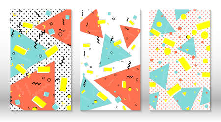 Set of memphis patterns. Abstract colorful fun background. Hipster style 80s-90s. Memphis elements. Vector