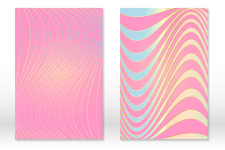 Abstract striped cover set. Wavy lines. Bright colorful templates. Vector