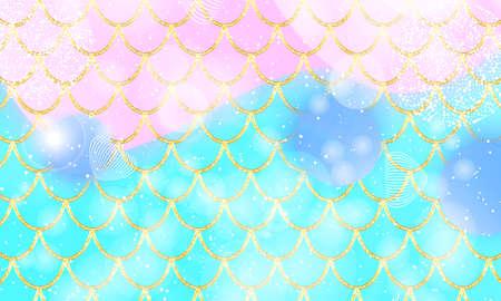 Princess background. Magic stars. Gold scales. Fairy pattern. Fantasy galaxy. Vector