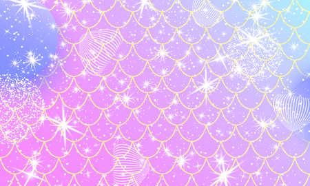 Pink princess background. Magic stars. Gold scales. Unicorn pattern. Fantasy galaxy. 向量圖像