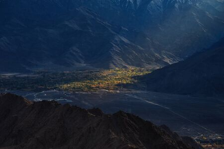 Beautiful nature in Leh ladakh. The mountain from viewpoint on at sunrise.