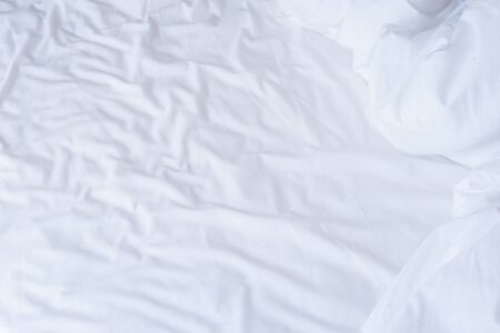 White cotton wrinkle fabric texture. Imagens